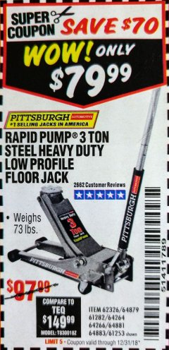 Harbor Freight Coupon RAPID PUMP 3 TON LOW PROFILE HEAVY DUTY STEEL FLOOR JACK Lot No. 64264/64266/64879/64881/61282/62326/61253 Expired: 12/31/18 - $97.99