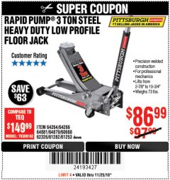 Harbor Freight Coupon RAPID PUMP 3 TON LOW PROFILE HEAVY DUTY STEEL FLOOR JACK Lot No. 64264/64266/64879/64881/61282/62326/61253 Expired: 11/25/18 - $86.99