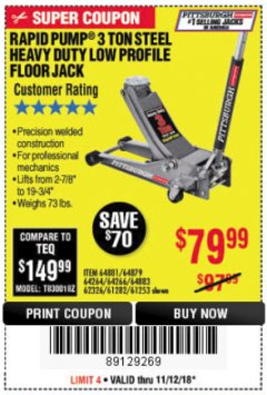 Harbor Freight Coupon RAPID PUMP 3 TON LOW PROFILE HEAVY DUTY STEEL FLOOR JACK Lot No. 64264/64266/64879/64881/61282/62326/61253 Expired: 11/18/18 - $79.99