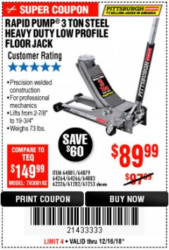 Harbor Freight Coupon RAPID PUMP 3 TON LOW PROFILE HEAVY DUTY STEEL FLOOR JACK Lot No. 64264/64266/64879/64881/61282/62326/61253 Expired: 12/16/18 - $89.99