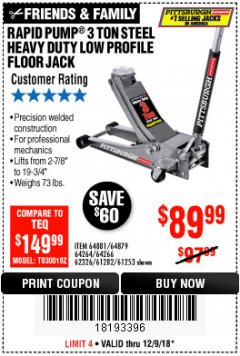 Harbor Freight Coupon RAPID PUMP 3 TON LOW PROFILE HEAVY DUTY STEEL FLOOR JACK Lot No. 64264/64266/64879/64881/61282/62326/61253 Expired: 12/9/18 - $89.99