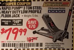Harbor Freight Coupon RAPID PUMP 3 TON LOW PROFILE HEAVY DUTY STEEL FLOOR JACK Lot No. 64264/64266/64879/64881/61282/62326/61253 Expired: 2/28/19 - $79.99