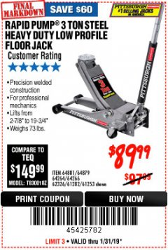 Harbor Freight Coupon RAPID PUMP 3 TON LOW PROFILE HEAVY DUTY STEEL FLOOR JACK Lot No. 64264/64266/64879/64881/61282/62326/61253 Expired: 1/31/19 - $89.99