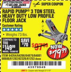 Harbor Freight Coupon RAPID PUMP 3 TON LOW PROFILE HEAVY DUTY STEEL FLOOR JACK Lot No. 64264/64266/64879/64881/61282/62326/61253 Expired: 5/11/19 - $79.99