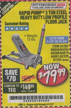 Harbor Freight Coupon RAPID PUMP 3 TON LOW PROFILE HEAVY DUTY STEEL FLOOR JACK Lot No. 64264/64266/64879/64881/61282/62326/61253 Expired: 4/13/19 - $79.99