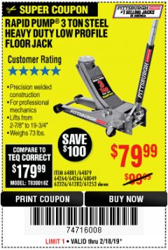Harbor Freight Coupon RAPID PUMP 3 TON LOW PROFILE HEAVY DUTY STEEL FLOOR JACK Lot No. 64264/64266/64879/64881/61282/62326/61253 Expired: 2/18/19 - $79.99
