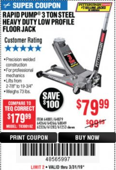 Harbor Freight Coupon RAPID PUMP 3 TON LOW PROFILE HEAVY DUTY STEEL FLOOR JACK Lot No. 64264/64266/64879/64881/61282/62326/61253 Expired: 3/31/19 - $79.99