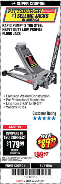Harbor Freight Coupon RAPID PUMP 3 TON LOW PROFILE HEAVY DUTY STEEL FLOOR JACK Lot No. 64264/64266/64879/64881/61282/62326/61253 Expired: 3/31/19 - $89.99