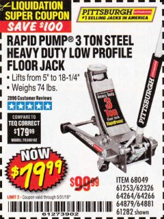 Harbor Freight Coupon RAPID PUMP 3 TON LOW PROFILE HEAVY DUTY STEEL FLOOR JACK Lot No. 64264/64266/64879/64881/61282/62326/61253 Expired: 5/31/19 - $79.99