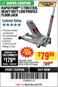 Harbor Freight Coupon RAPID PUMP 3 TON LOW PROFILE HEAVY DUTY STEEL FLOOR JACK Lot No. 64264/64266/64879/64881/61282/62326/61253 Expired: 4/21/19 - $79.99