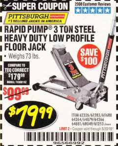 Harbor Freight Coupon RAPID PUMP 3 TON LOW PROFILE HEAVY DUTY STEEL FLOOR JACK Lot No. 64264/64266/64879/64881/61282/62326/61253 Expired: 6/30/19 - $79.99
