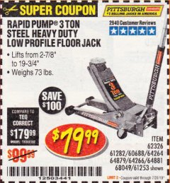 Harbor Freight Coupon RAPID PUMP 3 TON LOW PROFILE HEAVY DUTY STEEL FLOOR JACK Lot No. 64264/64266/64879/64881/61282/62326/61253 Expired: 7/31/19 - $79.99