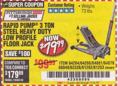 Harbor Freight Coupon RAPID PUMP 3 TON LOW PROFILE HEAVY DUTY STEEL FLOOR JACK Lot No. 64264/64266/64879/64881/61282/62326/61253 Expired: 11/14/19 - $79.99