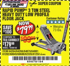 Harbor Freight Coupon RAPID PUMP 3 TON LOW PROFILE HEAVY DUTY STEEL FLOOR JACK Lot No. 64264/64266/64879/64881/61282/62326/61253 Expired: 10/27/19 - $79.99