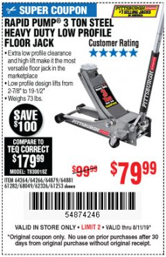 Harbor Freight Coupon RAPID PUMP 3 TON LOW PROFILE HEAVY DUTY STEEL FLOOR JACK Lot No. 64264/64266/64879/64881/61282/62326/61253 Expired: 8/11/19 - $79.99