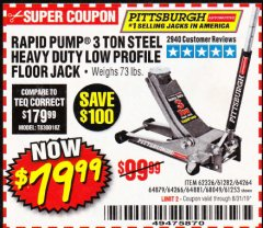 Harbor Freight Coupon RAPID PUMP 3 TON LOW PROFILE HEAVY DUTY STEEL FLOOR JACK Lot No. 64264/64266/64879/64881/61282/62326/61253 Expired: 8/31/19 - $79.99