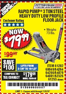 Harbor Freight Coupon RAPID PUMP 3 TON LOW PROFILE HEAVY DUTY STEEL FLOOR JACK Lot No. 64264/64266/64879/64881/61282/62326/61253 Expired: 11/9/19 - $79.99