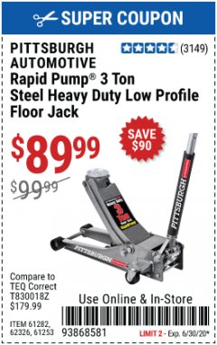 Harbor Freight Coupon RAPID PUMP 3 TON LOW PROFILE HEAVY DUTY STEEL FLOOR JACK Lot No. 64264/64266/64879/64881/61282/62326/61253 Expired: 6/30/20 - $89.99
