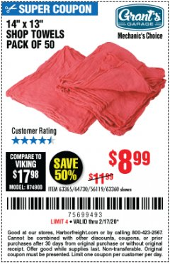 Harbor Freight Coupon MECHANICS SHOP TOWELS Lot No. 56119/64730/63365/63360 Expired: 2/17/20 - $8.99