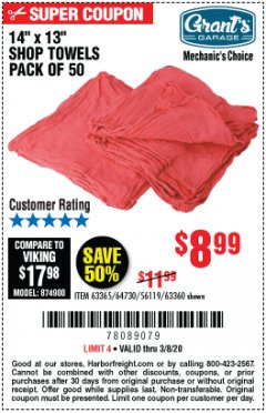 Harbor Freight Coupon MECHANICS SHOP TOWELS Lot No. 56119/64730/63365/63360 Expired: 3/8/20 - $8.99