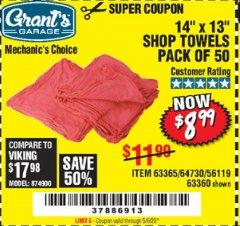 Harbor Freight Coupon MECHANICS SHOP TOWELS Lot No. 56119/64730/63365/63360 Valid Thru: 6/30/20 - $8.99