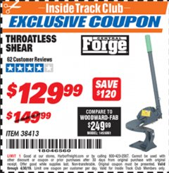 Harbor Freight ITC Coupon THROATLESS SHEARS Lot No. 38413 Expired: 4/30/19 - $129.99