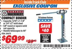 Harbor Freight ITC Coupon COMPACT BENDER Lot No. 38470 Expired: 4/30/19 - $69.99