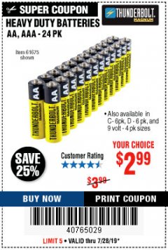 Harbor Freight Coupon HEAVY DUTY BATTERIES Lot No. 61273/61275/61675/68383/61274 Expired: 7/28/19 - $2.99