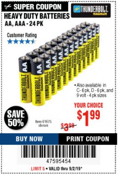 Harbor Freight Coupon HEAVY DUTY BATTERIES Lot No. 61273/61275/61675/68383/61274 Expired: 9/2/19 - $1.99