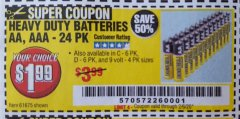 Harbor Freight Coupon HEAVY DUTY BATTERIES Lot No. 61273/61275/61675/68383/61274 Expired: 2/6/20 - $1.99