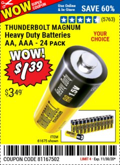 Harbor Freight Coupon HEAVY DUTY BATTERIES Lot No. 61273/61275/61675/68383/61274 Valid Thru: 11/30/20 - $1.39