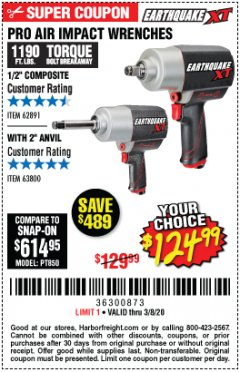"Harbor Freight Coupon PRO AIR IMPACT WRENCHES A 1/2"" COMPOSITE PRO B 1/2"" WITH 2"" ANVIL Lot No. 62835/63385 Expired: 3/8/20 - $124.99"