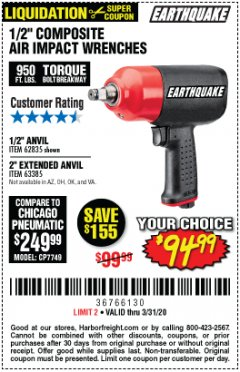 "Harbor Freight Coupon PRO AIR IMPACT WRENCHES A 1/2"" COMPOSITE PRO B 1/2"" WITH 2"" ANVIL Lot No. 62835/63385 Expired: 3/31/20 - $94.99"