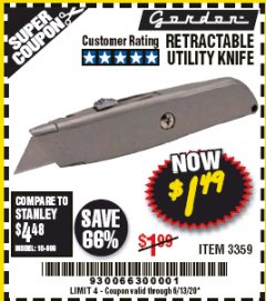 Harbor Freight Coupon RETRACTABLE UTILITY KNIFE Lot No. 3359 EXPIRES: 6/30/20 - $1.49