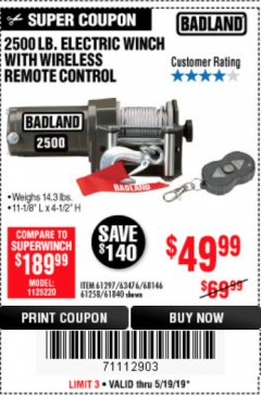 Harbor Freight Coupon 2500 LB. ELECTRIC WINCH WITH WIRELESS REMOTE CONTROL Lot No. 61297/63476/68146/67258/61840 EXPIRES: 5/19/19 - $49.99