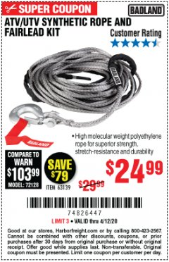 Harbor Freight Coupon ATV/UTV SYNTHETIC ROPE AND FAIRLEAD KIT 63139 Lot No. 63139 EXPIRES: 6/30/20 - $24.99