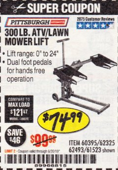 Harbor Freight Coupon ATV/LAWN MOWER LIFT Lot No. 60395/62325/62493/61523 Expired: 6/30/19 - $74.99