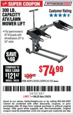 Harbor Freight Coupon ATV/LAWN MOWER LIFT Lot No. 60395/62325/62493/61523 Expired: 2/9/20 - $74.99