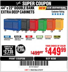 "Harbor Freight Coupon 44"" X 22"" DOUBLE BANK EXTRA DEEP CABINETS  Lot No. 64134, 64281, 64133, 64954, 64955, 64956, 64444, 64445, 64446 EXPIRES: 5/19/19 - $449.99"