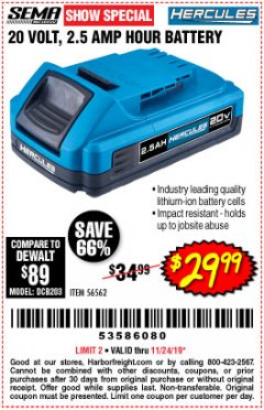Harbor Freight Coupon HERCULES 20 VOLT, 2.5 AMP HOUR BATTERY Lot No. 56562 Expired: 11/24/19 - $29.99