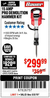 Harbor Freight Coupon BAUER 15AMP PRO DEMOLITION HAMMER KIT Lot No. 64277/64276/6403435/63438 Expired: 5/5/19 - $299.99