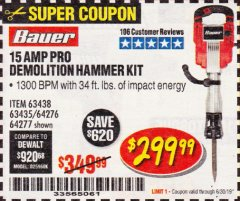 Harbor Freight Coupon BAUER 15AMP PRO DEMOLITION HAMMER KIT Lot No. 64277/64276/6403435/63438 Expired: 6/30/19 - $299.99
