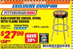 Harbor Freight ITC Coupon FLAME DESIGN BAR/COUNTER SWIVEL STOOL Lot No. 62202/91200 Expired: 5/31/18 - $27.99