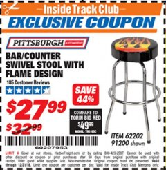 Harbor Freight ITC Coupon FLAME DESIGN BAR/COUNTER SWIVEL STOOL Lot No. 62202/91200 Expired: 12/31/18 - $27.99