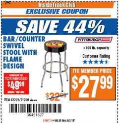 Harbor Freight ITC Coupon FLAME DESIGN BAR/COUNTER SWIVEL STOOL Lot No. 62202/91200 Expired: 8/7/18 - $27.99