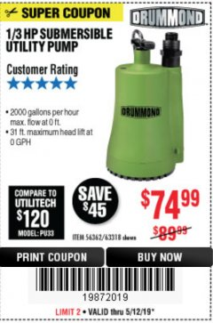 Harbor Freight Coupon 1/3 HP SUBMERSIBLE UTILITY PUMP Lot No. 56362/63318 Expired: 5/12/19 - $74.99