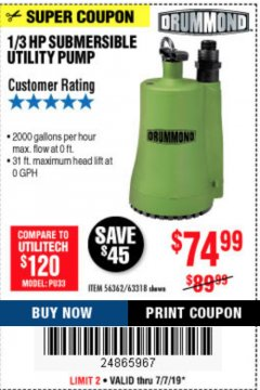 Harbor Freight Coupon 1/3 HP SUBMERSIBLE UTILITY PUMP Lot No. 56362/63318 Expired: 7/7/19 - $74.99