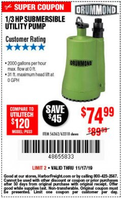 Harbor Freight Coupon 1/3 HP SUBMERSIBLE UTILITY PUMP Lot No. 56362/63318 Expired: 11/17/19 - $74.99