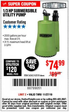 Harbor Freight Coupon 1/3 HP SUBMERSIBLE UTILITY PUMP Lot No. 56362/63318 Expired: 11/27/19 - $74.99