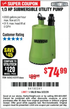 Harbor Freight Coupon 1/3 HP SUBMERSIBLE UTILITY PUMP Lot No. 56362/63318 Expired: 3/22/20 - $74.99